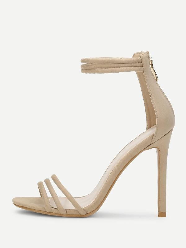 Секси сандали на висок ток Two Part Ankle Strap Strappy Heels