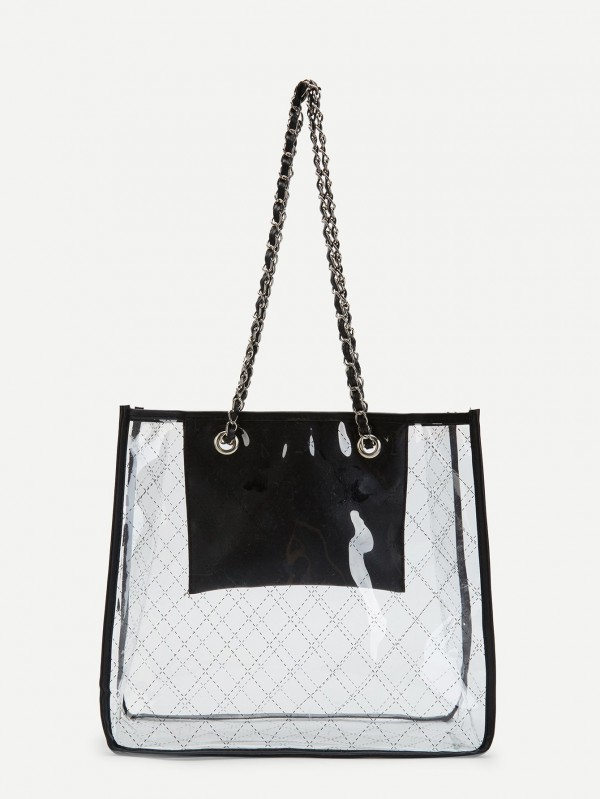 Прозрачна дамска чанта Quilted Tote Bag With Chain Handle