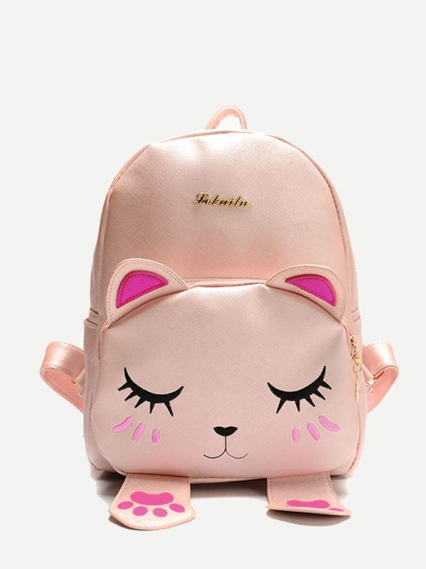 Сладурска раница Коте Cat Shaped Metal Detail Front PU Backpack