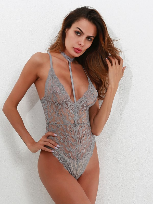 Дантелено боди Scallop Trim Cross Back Lace Teddy With Choker