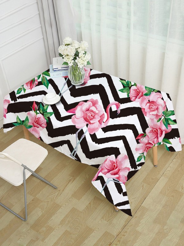 Покривка за маса Floral And Flamingos Print Table Cloth