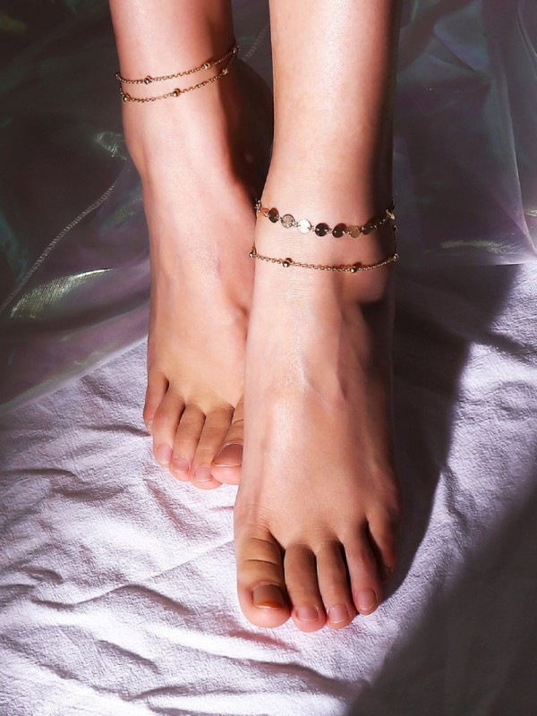 Комплект гривни за глезен Disc And Metal Ball Layered Chain Anklet 2pcs