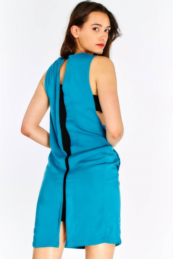 Дамска рокля Blue-Green Dress With Side Pockets
