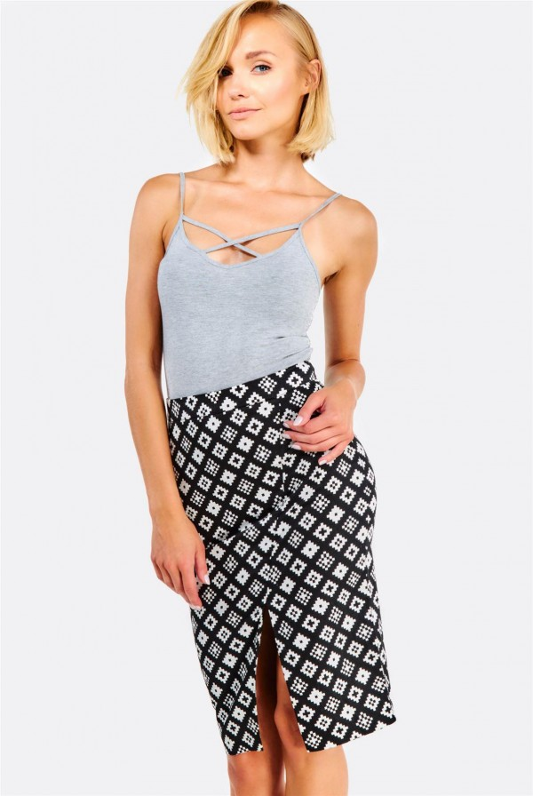Дамска пола Black Patterned Fitted Skirt