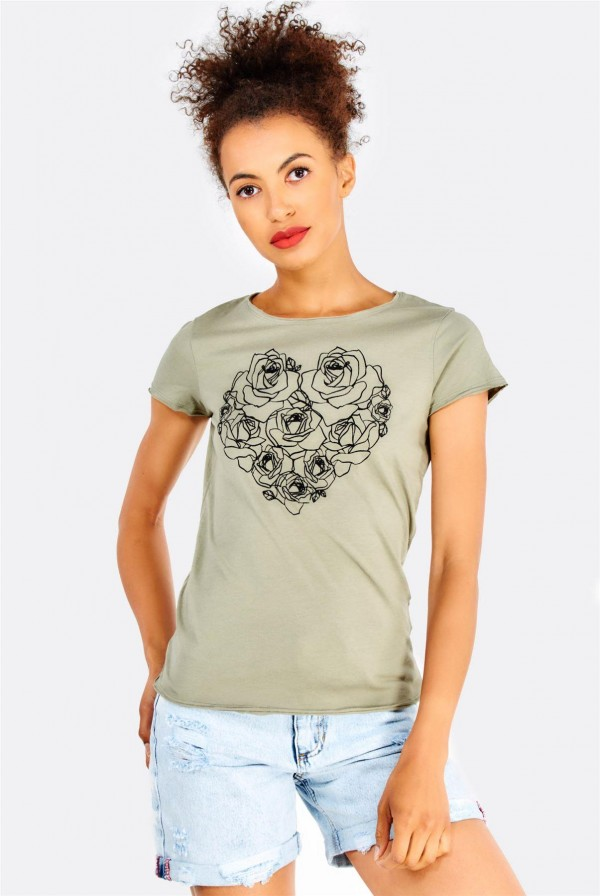 Дамска тениска Olive Green Cotton T-Shirt With Print