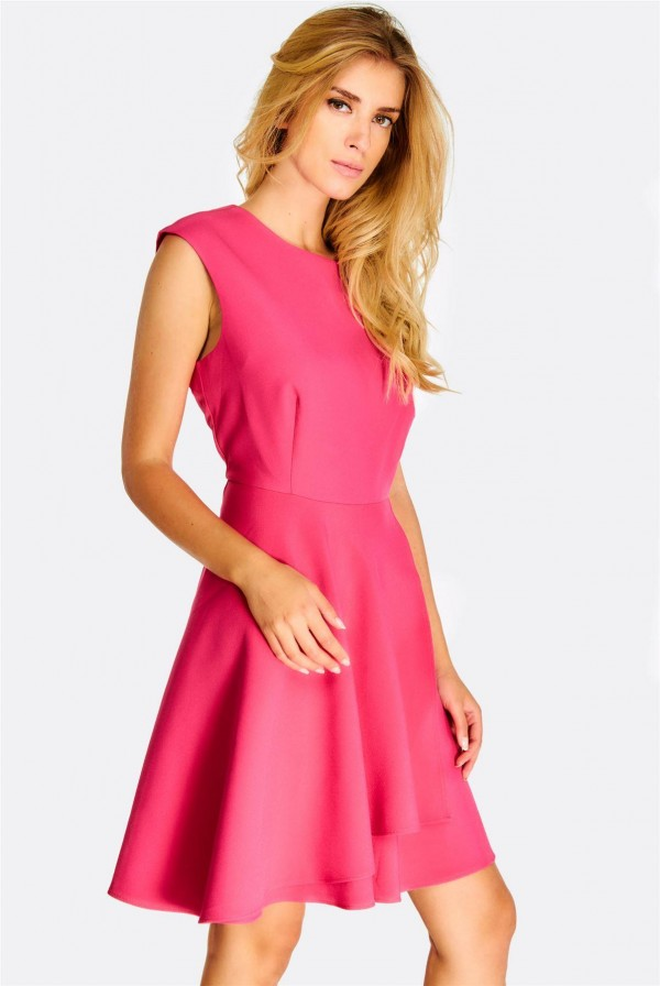 Дамска рокля Pink Flared Dress With Overlapped Design