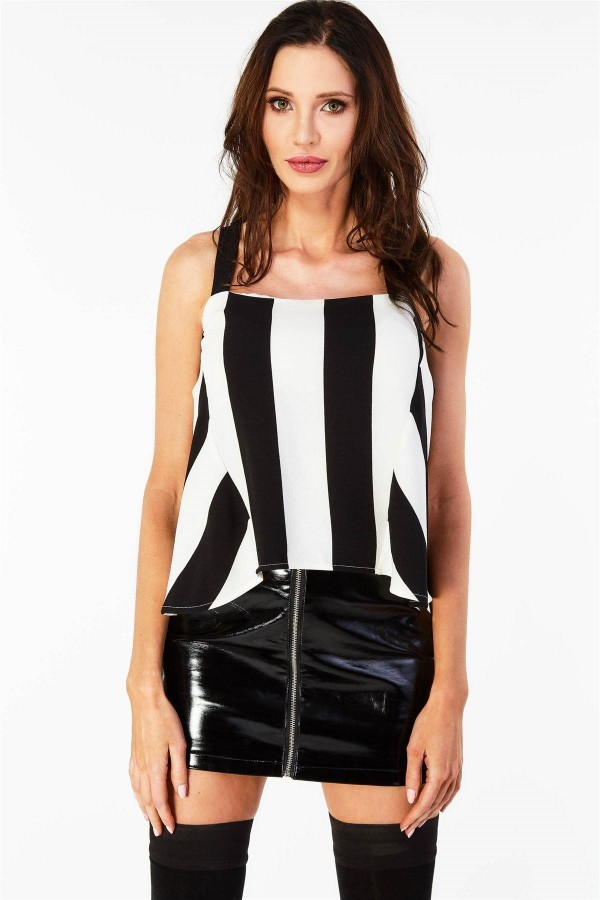 Черно бял топ Striped Flow Top With Straps