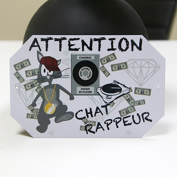 Малка метална табелка ATTENTION CHAT RAPPEUR