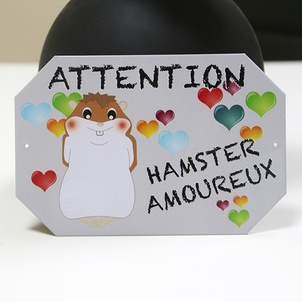 Малка метална табелка с хамстер ATTENTION HAMSTER AMOUREUX
